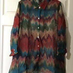 Multiples print asymmetrical blouse
